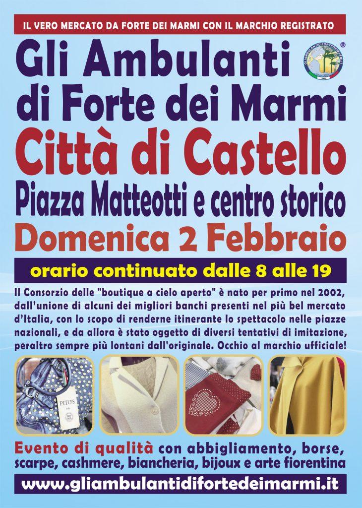 Ambulanti forte dei Marmi a Città di Castello - volantino febbraio 2020